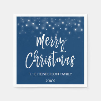 Navy Blue Christmas Script Holiday Disposable Napkins