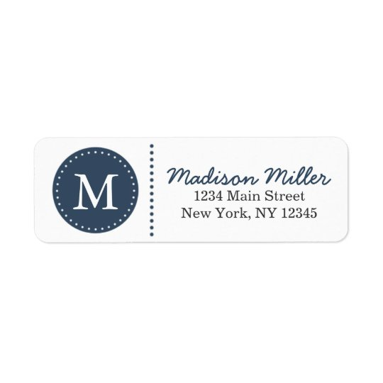 Navy Blue Circle Dots Custom Monogram Return Address Label