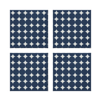 Navy Blue Circles and Silver Diamonds Pattern Gift Canvas Prints
