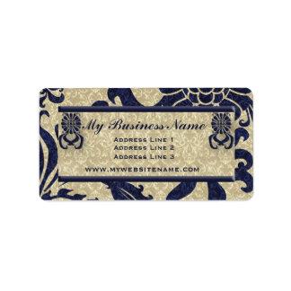 Navy Blue Classic Swirls Business Address Label