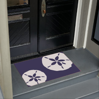 Navy Blue Coastal Beach House Nautical Sand Dollar Doormat