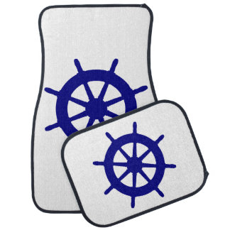 Navy Blue Coastal Decor Ship Wheel Floor Mat