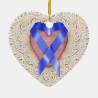 Navy Blue Colon Cancer Ribbon From the Heart - SR Ceramic Heart Decoration