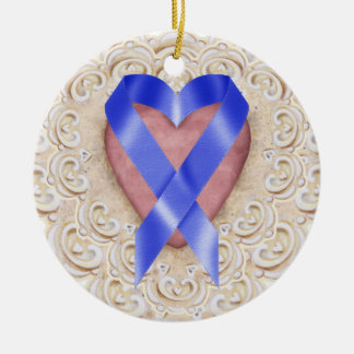 Navy Blue Colon Cancer Ribbon From the Heart - SR Christmas Ornament