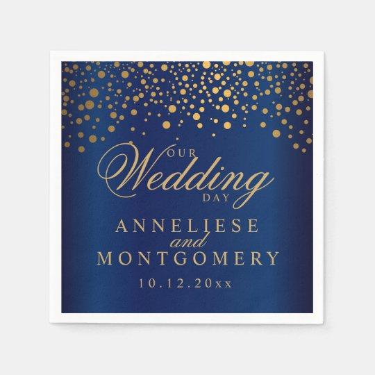 Navy Blue & Confetti Gold Dots Our Wedding