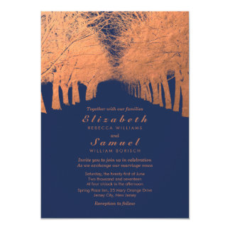 Navy Blue Copper Trees Avenue Wedding Invitation