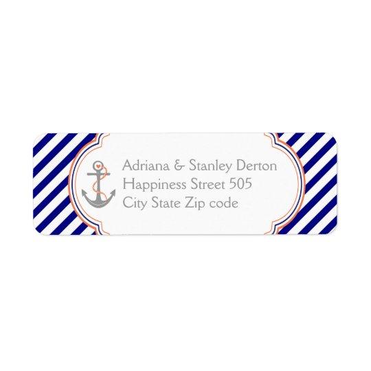 Navy blue, coral anchor nautical wedding
