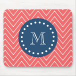 Navy Blue, Coral Chevron Pattern | Your Monogram