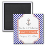 Navy blue, coral nautical wedding Save the Date Square Magnet