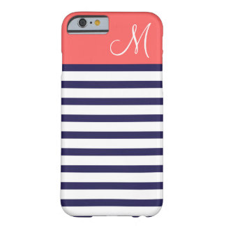 Navy Blue & Coral Preppy Stripes Custom Monogram Barely There iPhone 6 Case