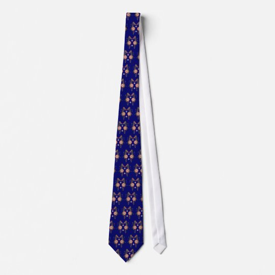 Navy Blue Coral Sea Horse Print Neck Tie