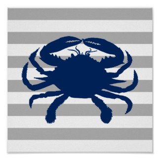 Navy Blue Crab Gray and White Stripe Poster