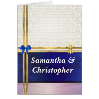 Navy blue & cream damask  wedding invitation greeting card