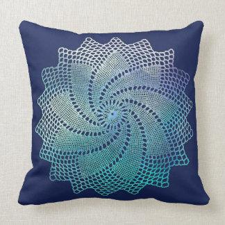 Navy Blue Crochet Lace Doily Pillow