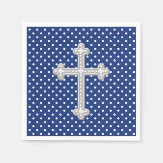 Navy Blue Cross Christening Disposable Serviette