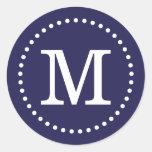 Navy Blue Custom Monogram Envelope Seal Round Sticker