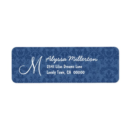 Navy Blue Damask Monogram M Ver 001 Address Label