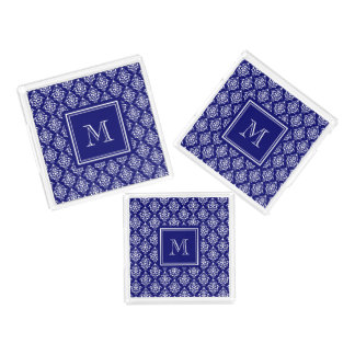 Navy Blue Damask Pattern 1 with Monogram Acrylic Tray