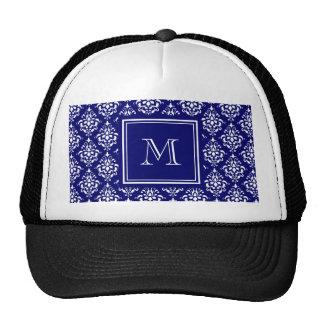 Navy Blue Damask Pattern 1 with Monogram Mesh Hat