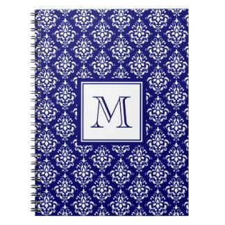 Navy Blue Damask Pattern 1 with Monogram Notebook