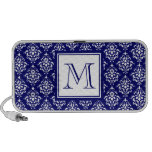 Navy Blue Damask Pattern 1 with Monogram Travelling Speakers