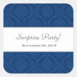 Navy Blue Damask Pattern Surprise Party Square Sticker