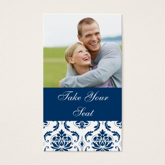 Navy Blue Damask Photo Wedding Place Card
