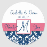 Navy Blue Damask Pink Wedding Thank You Sticker
