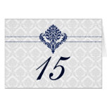 """""""navy blue"""" damask table seating card"""
