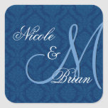 Navy Blue Damask Wedding Bride Groom Monogram