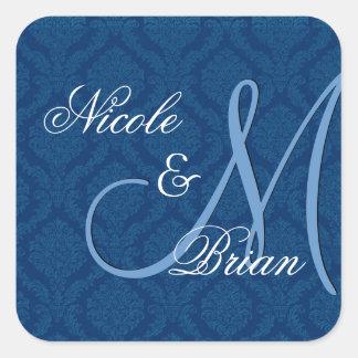 Navy Blue Damask Wedding Bride Groom Monogram Square Sticker