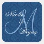 Navy Blue Damask Wedding Bride Groom Monogram V2A Square Stickers