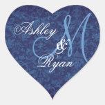Navy Blue Damask Wedding Custom Monogram Heart