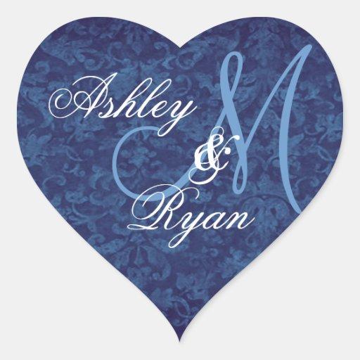 Navy Blue Damask Wedding Custom Monogram Heart Heart Stickers