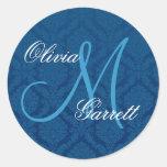 NAVY BLUE Damask Wedding Custom Monogram V1