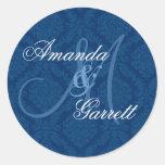 NAVY BLUE Damask Wedding Custom Monogram V2 Round Stickers
