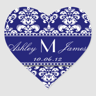 Navy Blue Damask Wedding Favour Sticker