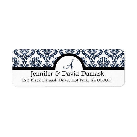 Navy Blue Damask Wedding Monogram Address Labels