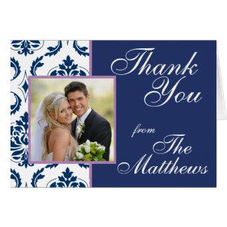 Navy Blue Damask Wedding Photo Thank You Card