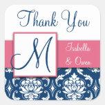Navy Blue Damask Wedding Sticker Pink