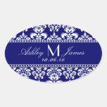 Navy Blue Damask Wedding Wine Label Oval