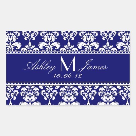 Navy Blue Damask Wedding Wine Label Rectangular Sticker