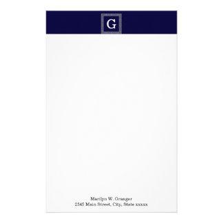 Navy Blue Dark Gray Greek Key #1 Framed Monogram Personalised Stationery