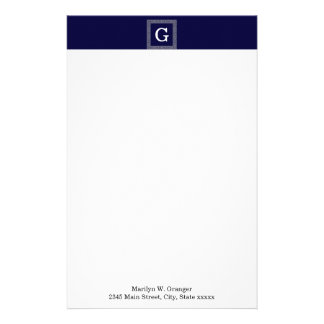 Navy Blue Dark Gray Greek Key #1 Framed Monogram Stationery
