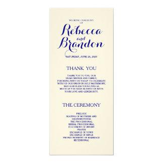 Navy Blue Designer Script Custom Wedding Program 10 Cm X 24 Cm Invitation Card