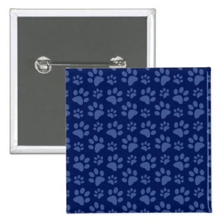 Navy blue dog paw print pattern 15 cm square badge