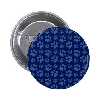 Navy blue dog paw print pattern 6 cm round badge