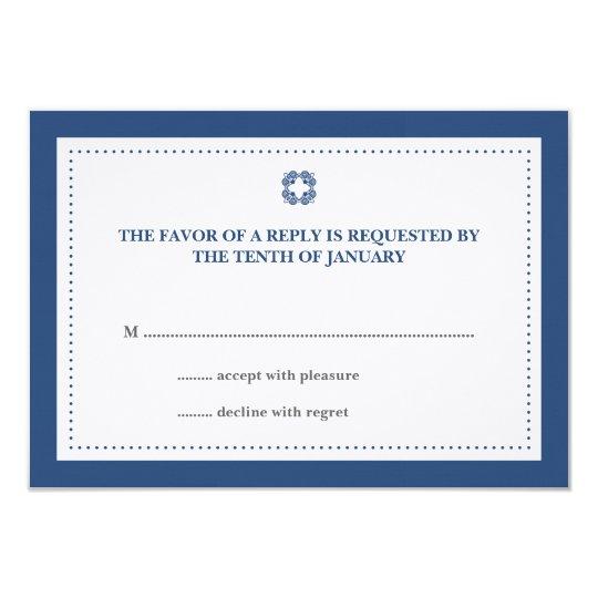 Navy blue dotted border wedding rsvp response card