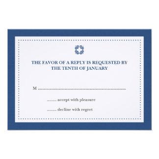 Navy blue dotted border wedding rsvp response invitation