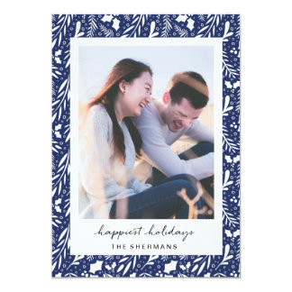 Navy Blue Dotted Greens Custom Photo Holiday Card